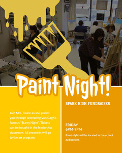 Yellow, Paint Night Event Instagram Portrait Fundraiser