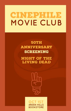 Brown and Yellow Movie Club Poster Movie Night Flyer