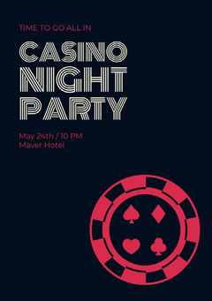 Black and Red Casino Night Party Invitation Game Night Flyer