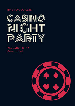 Black and Red Casino Night Party Invitation Cartazes de jogos