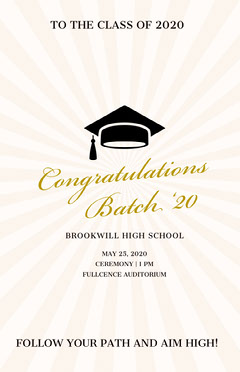 Gold Elegant High School Graduation Poster with Mortarboard Graduation Congratulation