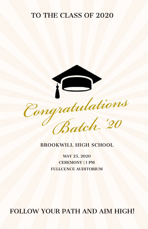 Gold Elegant High School Graduation Poster with Mortarboard Graduation Poster