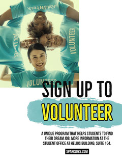 Blue Student Volunteering Program Flyer Job Poster