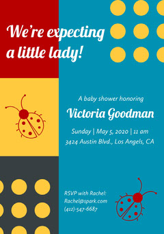 Yellow and Blue Baby Shower Invitation Baby Shower (Girl)