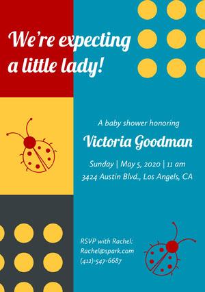 Yellow and Blue Baby Shower Invitation Baby Shower Invitation