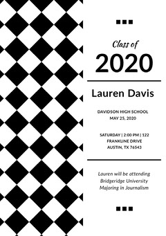 Black and White Graduation Announcement Card with Checked Pattern Graduation Congratulation