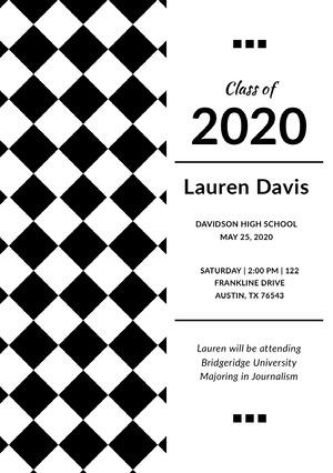 Black and White Graduation Announcement Card with Checked Pattern Graduation Announcement