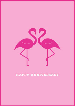 Pink Happy Anniversary Card with Flamingos Couple