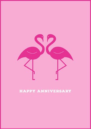 Pink Happy Anniversary Card with Flamingos 기념일 카드