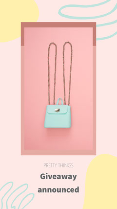 pink yellow blue handbag giveaway announced instagram story  Giveaway