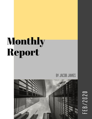 Yellow and Grey Corporate Monthly Report Relatório