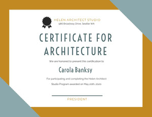 CERTIFICATE FOR<BR>ARCHITECTURE  Diplomi