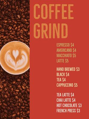 Red Fresh Coffee Menu Drink Menu
