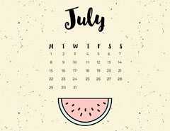 July Calendar with Watermelon Summer