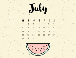 July Calendar with Watermelon Kalenterit