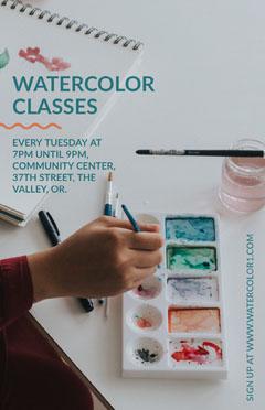 watercolor classes poster Paint