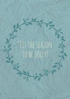 Blue Wreath Christmas Card Seasonal