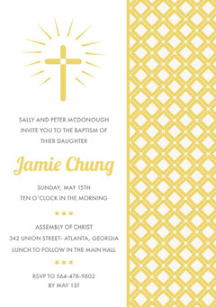 Yellow Daughter Baptism Invitation Card with Cross and Pattern Baptism