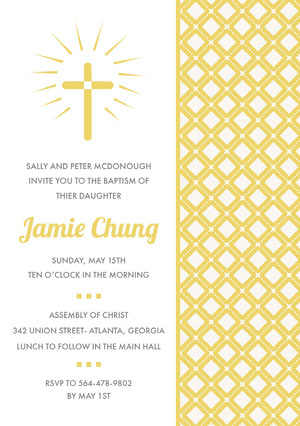 Yellow Daughter Baptism Invitation Card with Cross and Pattern Kastajaiskutsu