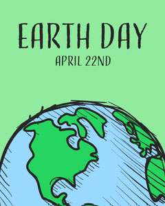 Green and Blue Illustrated Earth Day Instagram Portrait Earth