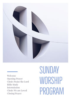 Grey and White Sunday Worship Program Flyer Sunday