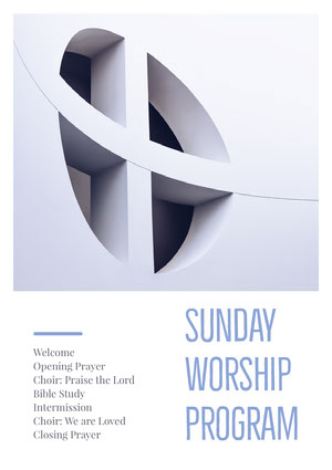 Grey and White Sunday Worship Program Flyer Announcement