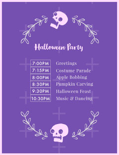 Floral Skull Halloween Party Schedule Halloween Party Schedule