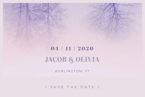 White and Violet Save The Date Card Christmas Postcard