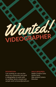 Black Videographers Wanted Open Position Flyer Job Poster