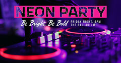 Purple & Pink Neon DJ Party Facebook Event Cover DJ