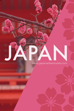 Pink Japan Travel Pinterest Ad with Cherry Blossom Travel Agency