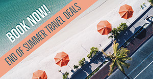 Red and Blue Toned Travel Deal Facebook Banner Customized Vinyl Banner