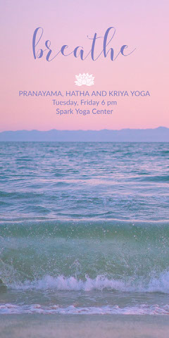 Sunset Colors Yoga Studio Ad with Waves in Sea and Beach Surfing