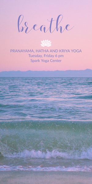Sunset Colors Yoga Studio Ad with Waves in Sea and Beach Yoga Posters