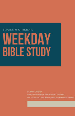 Orange and Blue Bible Study Flyer Religion