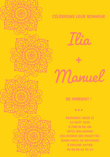 yellow and pink henna wedding cards Carte de remerciement de mariage