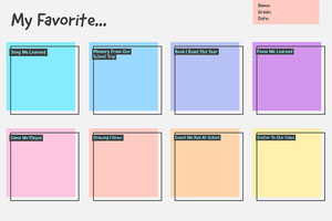 Multicolour Favourites Fill in Worksheet Poem/Poetry
