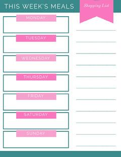 Pink and Teal Weekly Meal Planner Teal