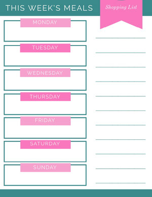 Pink and Teal Weekly Meal Planner Planificateur