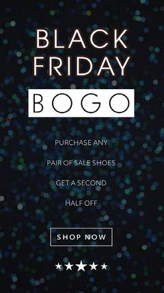 Black, Blue and White Black Friday Sale Ad Instagram Story Bogo