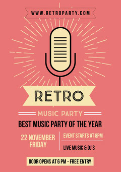 retro party flyer Live Music Flyer