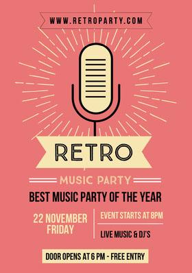 retro party flyer Folleto de invitación a evento