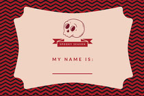 Pink Spooky Season Skull Halloween Party Name Tag Scary