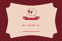Pink Spooky Season Skull Halloween Party Name Tag Halloween Party Name Tag