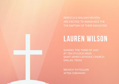 Orange Baptism Announcement and Invitation Card Christianity