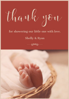 Red Calligraphy Thank You Baby Shower Card Baby's First Year