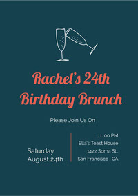 Navy Blue and Red Birthday Brunch Invitation 誕生会の招待状