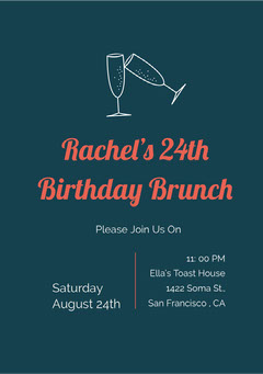 Navy Blue and Red Birthday Brunch Invitation Brunch