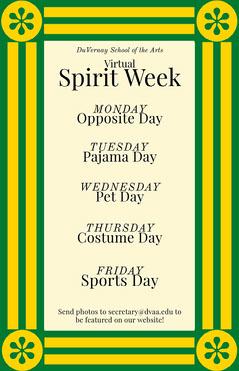 arty virtual spirit week poster  Spirit Week