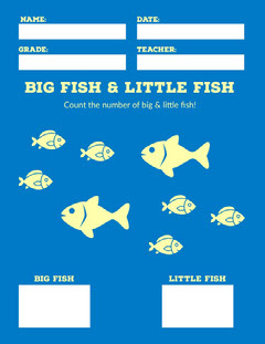 Blue and Yellow Illustrated Fish Counting School Worksheet Fish